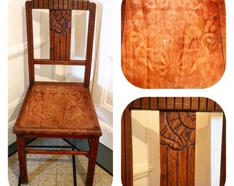 Old wooden chair decorated. 30 years.