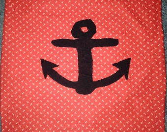 Homemade Red Anchor Pillow Case 18x18