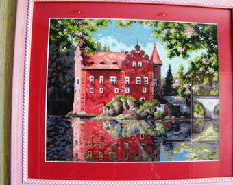 """Embroidered cross pattern """"Czech castle Cervena Lhota"""""""