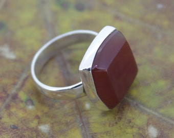 92.5 Sterling Silver Red Onyx Ring