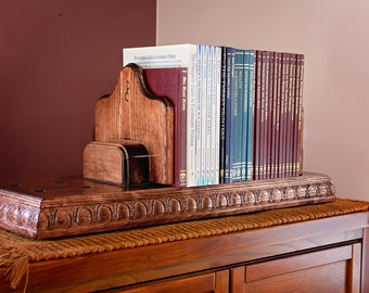 Wood Bookshelf Brown, Pine Tabletop Bookshelf, Adjustable Bookends Bookshelf,  Handmade Bookshelf, Mantle