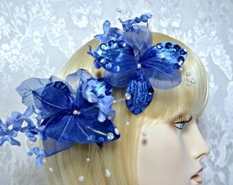 blue Hair clip. art deco 1920s roaring 20s Blue flower fascinator, wedding bridal hair clip fascinator, something blue wedding accessories
