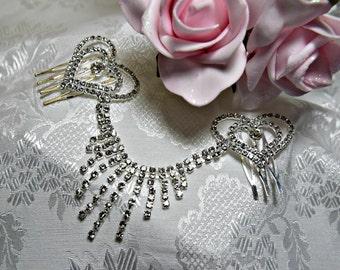 art deco hair comb,  art deco headpiece, crystal  hair comb,  crystal  wedding hair comb, bridal hair comb, crystal hearts hair comb