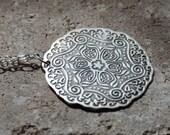 PENDANT, NECKLACE, Antique Silver Imported Turkish Medallion