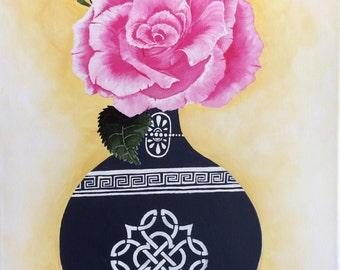 Pink Rose Painting, pink rose, flower painting, flower art, pink flower art, floral art decor,blue vase, rose art, pink rose