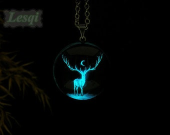 Glowing elk deer necklace,Stainless steel glow moon pendant necklace,Glow in the dark