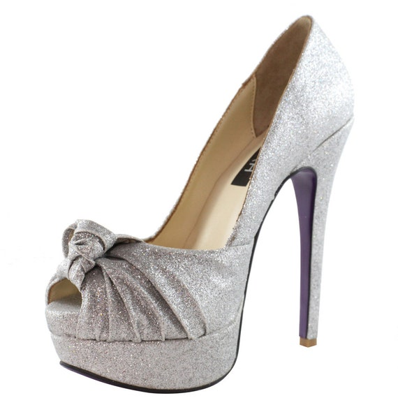 silver glitter high heel shoe by kamah01 on etsy. Black Bedroom Furniture Sets. Home Design Ideas