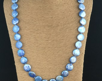 Long blue/purple coin pearl necklace