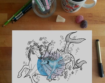 Hippocampus Colouring Page, seahorse colouring page, horses colouring page, mythical colouring page, adult coloring pages