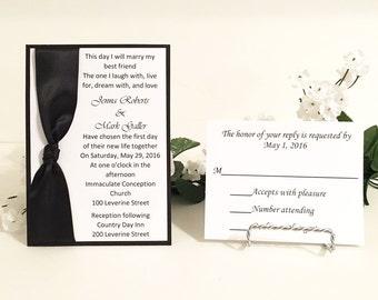 Black & White Invitation Set With Satin Ribbon Wedding/Birthdays/Holidays