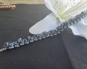 Gunmetal Grey Hand Stitched Crystal and Pearl Bracelet