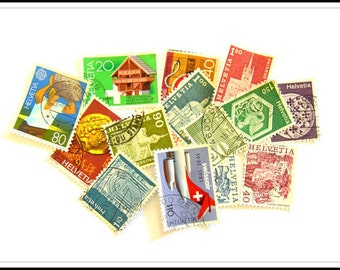 Assorted Used Cancelled Helvetia Postage Stamps
