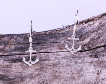 Sterling Silver Dainty Anchor Charm Earrings