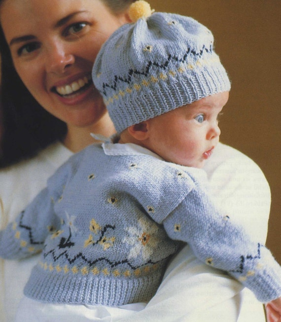 Baby Fair Isle Cardigan and Hat PDF Knitting Pattern : Babies