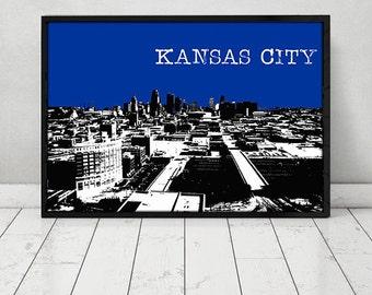Kansas City Skyline City skyline Kansas City Poster Kansas City poster city art print Art poster Wall decor Wall art Kansas City Dorm Decor