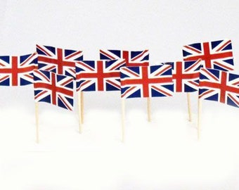Pack of 30 Union Jack Flag Picks for Sandwiches, Cup Cakes and Decorations