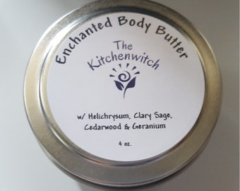 Enchanted Body Butter ~ 4 oz.  Whipped Body Creme with Helichrysum Essential Oil, All-Natural, Food-grade Ingredients, Preservative-free