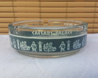 Vintage Las Vegas, Nevada Caesars Palace Round Glass Ashtray, Perfect condition!