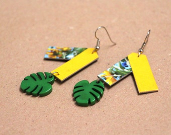 "Paper earrings ""Kolyma"" - Earrings tropic inspiration and tropical leaves"