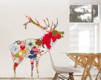 Sticker wall Floral Elk