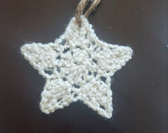 Hand crocheted Christmas star ornament