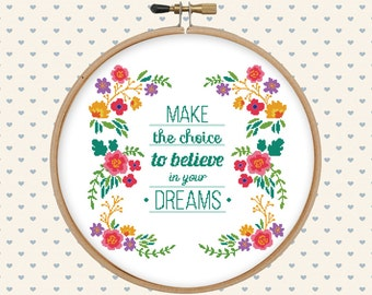 Floral cross stitch pattern pdf - instant download - digital download - pillow embroidered - flowers, lettering - modern art cross stitch