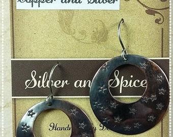 Boho Earrings, Copper Boho Earrings, Stars, Copper Star earrings, Sterling Silver earwires, Bohemian. Chic, Hippy, Chic