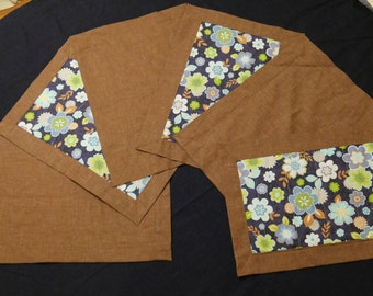 Brown & Blue Floral Placemats - Set of 6