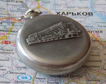 Pocket watch USSR. locomotive ornament men's pocket watch. Vintage Soviet watch. Molnija