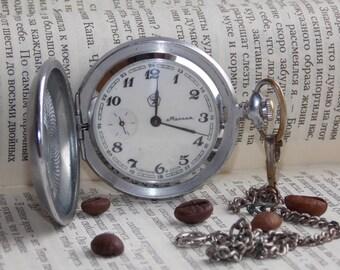 Soviet pocket watch. Vintage mechanical watch USSR. Molnija.