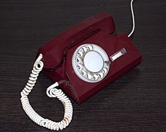 Soviet phone. Desk phone. Cherry rotary phone. Disk phone. Vintage phone USSR.