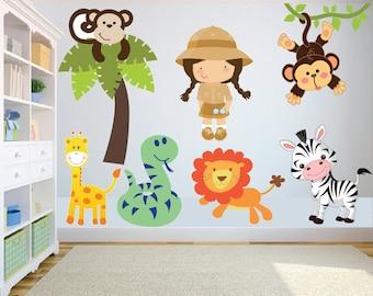 Superb Animal Safari/Jungle Theme Wall Art/decal Sticker Childrens  Bedroom/playroom/nursery Nice Look