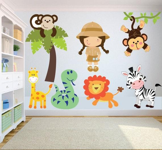 animal safari jungle theme wall art decal sticker childrens sticker mural chambre b 233 b 233 plus de 50 id 233 es pour s inspirer