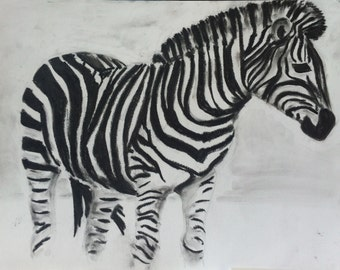 large original Zebra drawing, Charcoal on paper, 15-3/4 x 23-5/8in (40x60cm)