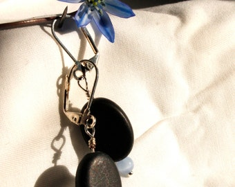 Black and Blue, Stone and Glass Bead Handmade Earrings