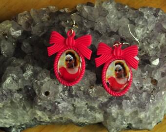Pink Flamingos-Divine Earrings-Resin Bow Setting-John Waters