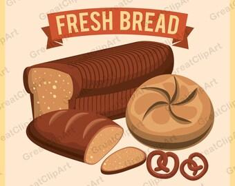 5 Fresh bread clipart, Food clipart, Breakfast clipart, bread clipart, cookies clipart, painted bread clipart, bread, scrapbooking clip art