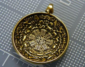 Tibetan Tibet Buddhist Sidpaho Zodiac Vajra Dorje Amulet Pendant - Gold Metal Alloy Tibet Pendant Amulet