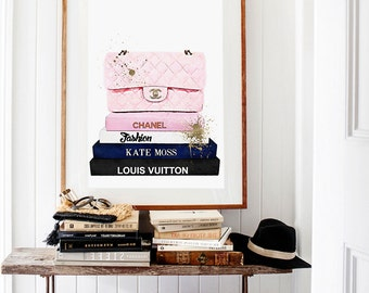 Fashion books poster.  Watercolor bag artwork. Fashion print. Stacked books. Instant download.
