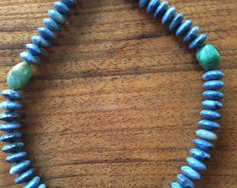 Lapis necklace with moss agate