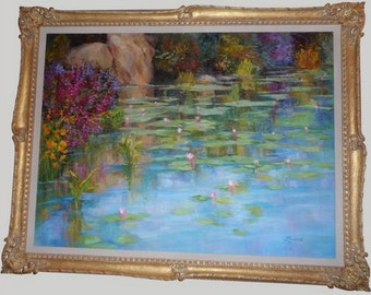 55 x 43 WATER LILIES framed oil painting by American Impressionist Diane Leonard