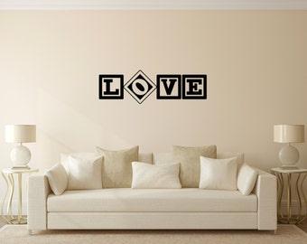 Love in blocks vinyl wall decal