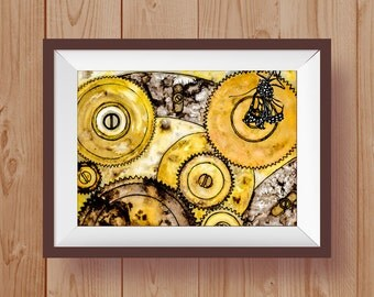 "Gears and Nature - Square Print 12"" x 12"" (30cm x 30cm) high quality print"