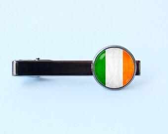Irish flag tie clip Irish gift Father's gift Irish jewelry Husband gift Flag of Ireland tie clip Flag tie bar Irish jewellery Irish tie clip