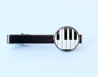 Piano tie clip Piano keys tie clip Music gift Music jewelry Music tie clip Gift for musician Piano jewelry Musical tie bar Anniversary gift
