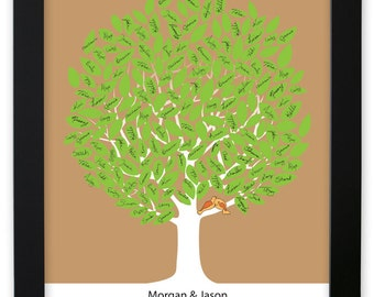Leaf Tree Guest Book with birds - Summer Tree Two Framed, Signature Mat, Wedding Tree Guest Book, Wedding Guest Book Alternative