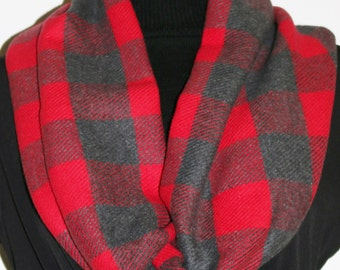 Red Plaid Flannel Cowl Scarf