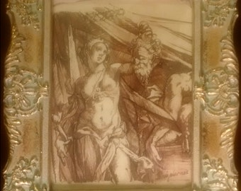 Old Master Drawing Judith and Holofernes Gorgeous Golden Frame