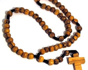 Olive Wood Simple Rosary Blessing Prayer Beads from Jerusalem