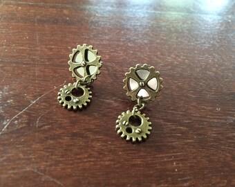 Steampunk Gears Stud Post Dangle Earrings